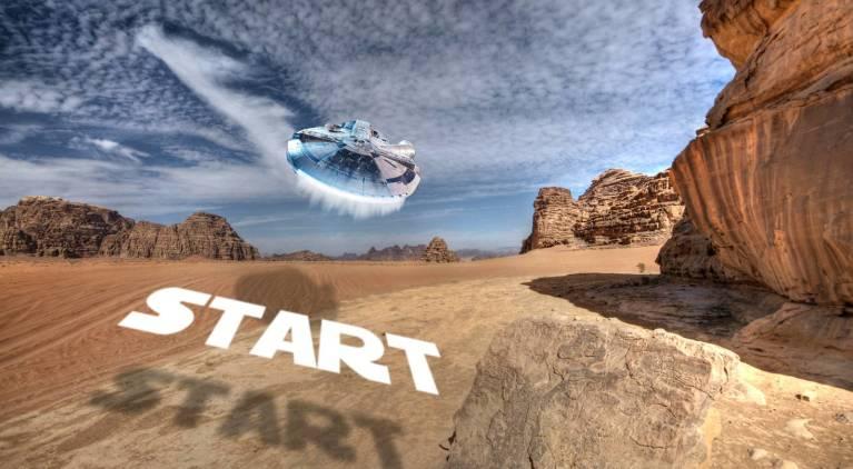 Headerbild Millenium Falcon startet über Wandi Rum